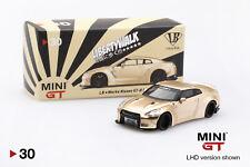 1/64 TSM MINI GT Nissan GT-R R-35 Liberty Walk Diecast Model Satin Gold MGT00030