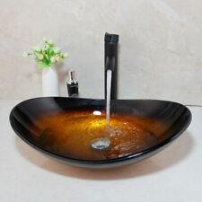 US Washbasin Countertop Tempered Glass Basin Sink Faucet Set Brass Waterfall