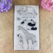 Elephant Panda Giraffe Parrot Frog Rubber Transparent Stamps Scrapbook Cards