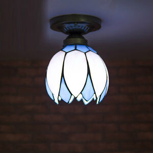 Tiffany Blue&Pink Corridor Ceiling Pendant Light Glass Bud Bedroom Ceiling Lamp