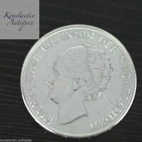 Vintage 1937 silver coin 2.5 Gulden Queen Wilhelmina of the Netherlands 20thC