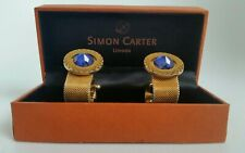 Vintage Simon Carter Gold and Saphire 70s Look Cufflinks.