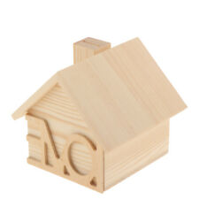 House Shape Unfinished Wood Wooden Storage Box Coin Money Box Container