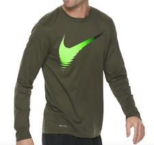 Nike Long Sleeve Shirt Mens Small to 2XL New Green Cargo Dri Fit Anti Odor Tee