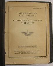 1943 A-30- Baltimore I,II,III Original Interchangeable Parts Catalog-Not Illust.