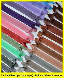 5 x invisible concealing zips #3 (lace tape), sizes 25 cm to 50 cm, 13 colours