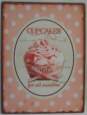 Tin Sign Pink Cupcakes For All Occasions Country French Provincial Rustic Style