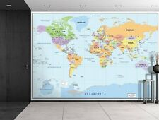 2016 Newest World Map - Wall Mural, Removable Wallpaper, Home Decor - 100x144