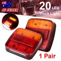 1 Pair 26 Led Stop Indicator Trailer Tail Lights Truck Caravan Square Lamp 12V