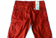 $68 New Mens LEVIS Slim Cargo I Pants 31 x 30 FIRE RED Military jeans brick hike
