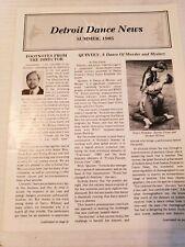 Detroit Dance News Summer 1985