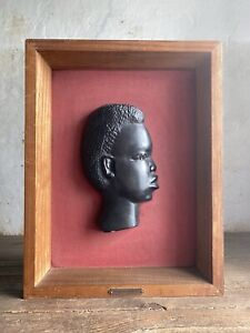 """Mid Century Plaster Wall Sculpture, African Chalkware. """"PRODUCTIONS CHALVET"""" 50s"""