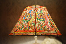 Large Leather Floor Lamp Shade in Garden Peacock Pattern -  HT-9.5, WID-16 INCHS