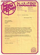 More details for rare 1975 top of the pops letter with envelope & compliment slip marc bolan dlt