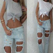 Women Summer Tops Knotted Tie Front Crop Tops Cropped T Shirt Casual Blouse New