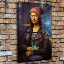"""12""""x18""""Mona Lisa wearing a hat playing mobile phone Hd Canvas Home Decor art"""