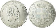 ITALIA , VICTOR EMMANUEL II , 5 LIRE ARGENTO , 1876 R ROMA