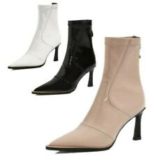 New Fashion Women's Patent Leather Kitten Heel Zip Up Pointy Toe Ankle Boots L