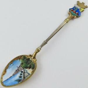 ANTIQUE MENTON FRANCE COAT OF ARMS COASTLINE SCENIC 800 SILVER SOUVENIR SPOON