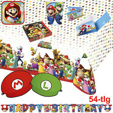 Amscan 52 tlg. Mario Brother Partygeschirrset Party Geschirr Kindergeburtstag