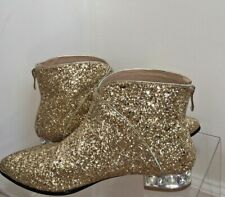 ENMAYER Size 8 Gold Glitter Ankle Boots
