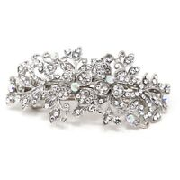 beautiful elegant flowers metal barrette rhinestones crystal hair clip