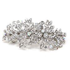 beautiful elegant flowers metal barrette rhinestones crystal hair clip