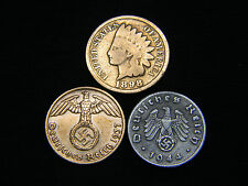 1890-1899 Indian Head Cent + Nazi Coin WW2 3rd Reich German US Lot