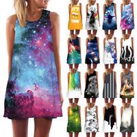 Womens Tank Top Mini Dress Galaxy 3d Print Summer Casual Prom Party Tunic Shirt
