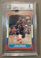 1986 Fleer Basketball Clyde Drexler ROOKIE RC #26 Beckett BGS 8 NM-MT