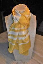 Oblong scarf color bands; Liz Claiborne, yellow, white; 52x10; SILK??