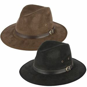 Faux Suede Fedora Hat