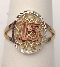 10k White Rose & Yellow Gold Sweet 15 Birthday Ladies Quinceanera Ring Band