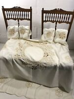 Vintage Hand Crochet Lace Tablecloth & Napkins Ivory White 69'' X 48''