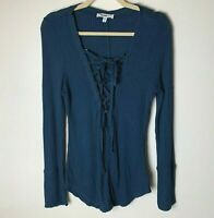 William Rast Women's Top Size Large Waffle Knit Tie Front Dark Blue Long Sleeves