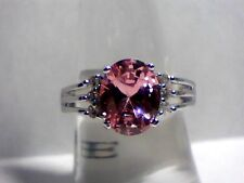 """""""Desirable"""" Pretty Pink Topaz & Austrian Crystals in .925 Sterling Silver Sz 9"""