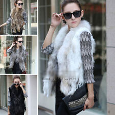 New!!100% Real Knitted Rabbit Fur Vest Jacket Cape Coat Poncho Ladies Vintage