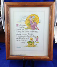 framed nursery rhyme lithograph Little Miss Muffet by M E Hodges 8 x 10 litho