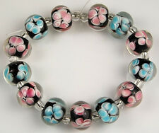 HANDMADE LAMPWORK GLASS BEADS Black w/ Pink Aqua Flower