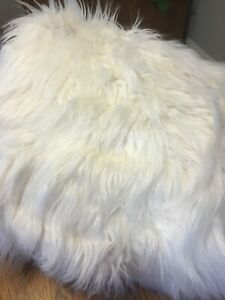 POTTERY BARN TEEN HIMALAYAN FAUX FUR MEDIUM BEANBAG cover-white