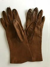 Bloomindales Vintage Brown Leather Women's Gloves 6.5 (small)