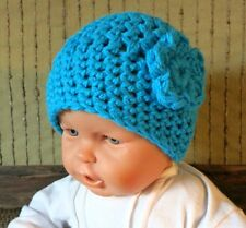 Crochet Hat, Baby Wool Beanie, Cable Pattern Skull Cap, Hand Crochet Knit Bright
