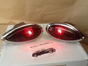 NEW REPLACEMENT 1939 39 38 FORD TEAR DROP TAIL LIGHT ASSEMBLIES WITH RED LENS !