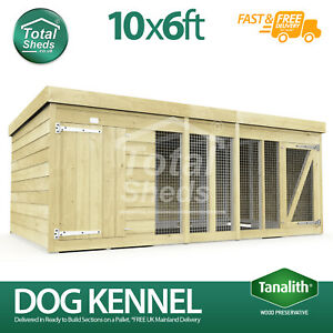 Dog Kennel & Run 10ft x 6ft Fully Pressure Treated Tanalised Timber Free Deliver