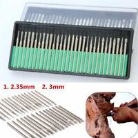 30Pcs Diamond Burr Bits Drill Kit Engraving Carving Dremel Rotary Replace Tool