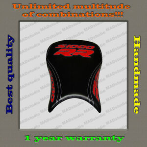 CUSTOM Design Front Seat Cover BMW S1000RR 12-14 black+red+white-trimming 001