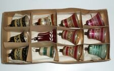 12 Vtg Mercury Glass Christmas Tree Bell Ornaments Glass Gongs Germany Box