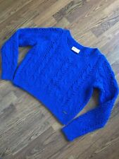 Ladies Hollister Blue Crop Jumper Cable Sweater Size S