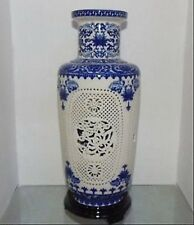 old China Porcelain 2 Set Double Hollow Carved Blue And White Big Vases e01