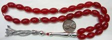 Prayer Worry Beads Genuine Indian Ruby & Sterling Rare Oval Cut - Collector'S